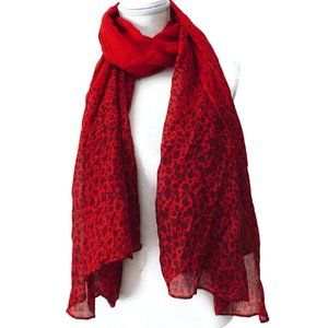 RED Spotted Long Rectangle Scarf